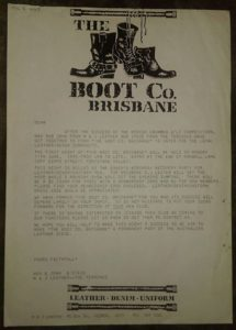 BootCo newsletter vol 1 no 1, inviting members and their guests to the first club meeting at the Terminus Hotel, Fortitude Valley, on Monday 11 June 1990. A facsimile copy of this newsletter is held in the Australian Lesbian and Gary Archives, Melbourne.