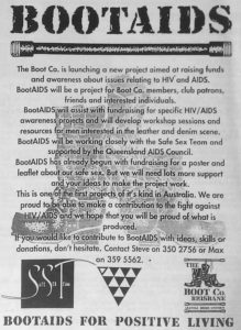 Advertisement for BootAIDS Queensland Pride, August-September 1991 Collection: State Library of Queensland, Brisbane